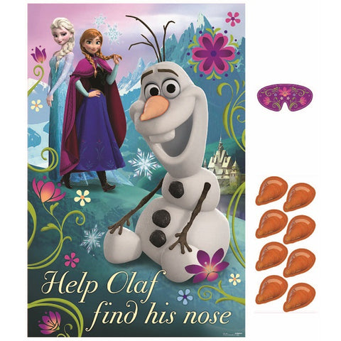 Frozen Party Game Includes: 1  Plastic Poster, 8 Stickers & 1 Paper Blindfold - Each