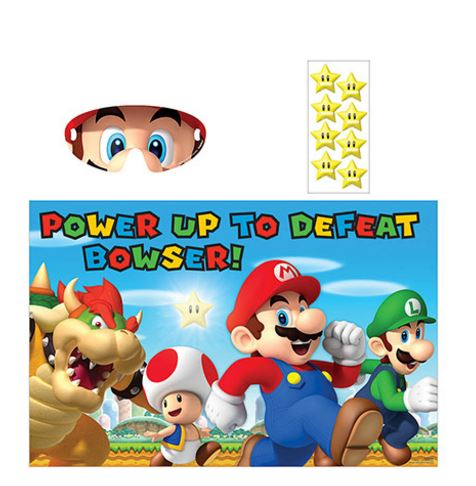 Super Mario Brothers Game 1 x Game Board, 1 x Sticker Sheet - 8 Stickers & 1 x Paper Blindfold For 2-8 Players - Each