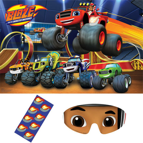 Blaze & The Monster Machines Party Game 1 x Plastic Poster, 8 x Stickers & 1 x Paper Blindfold - Each