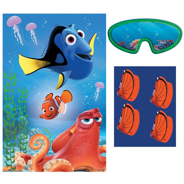 Finding Dory Party Game Includes 1 x Poster, 8 x Stickers & 1 x Blindfold - Each