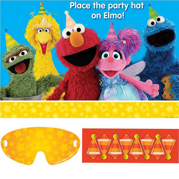 Sesame Street Party Game - Place the Hat on Elmo 1 x Plastic Poster, 1 x Paper Blindfold & 8 x Stickers (For 2-8 Players) - Each