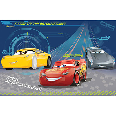 Cars 3 Party Game 1 x Plastic Poster, 8 x Stickers & 1 Paper Blindfold.  2 - 8 Players - Each