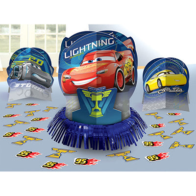 Cars 3 Table Decorating Kit (Contains 1 x 32cm Centrepiece, 2 x 17cm Centrepieces, 20 x 5cm Confetti Pieces) - Each