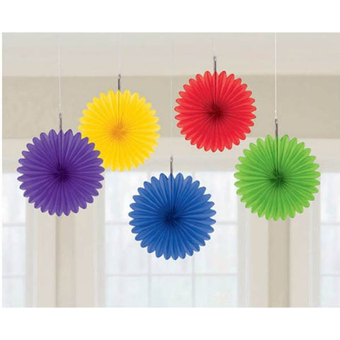 Mini Hanging Fan Decorations Rainbow Colours