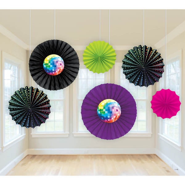 Disco Fever Printed Paper Fans, Contains 2 x 40.6cm Fans, 2 x 30.4cm Fans & 2 x 20.3cm Fans - Pack of 6