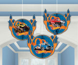 Hot Wheels Honeycomb Hanging Decorations 16.5cm (Supplied Flat with double sided Tape to Assemble) - Pack of 3