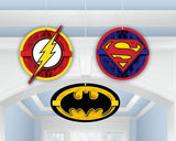 Justice League Honeycomb Hanging Decorations 2 x 16cm & 1 x 20cm Wide - Pack of 3