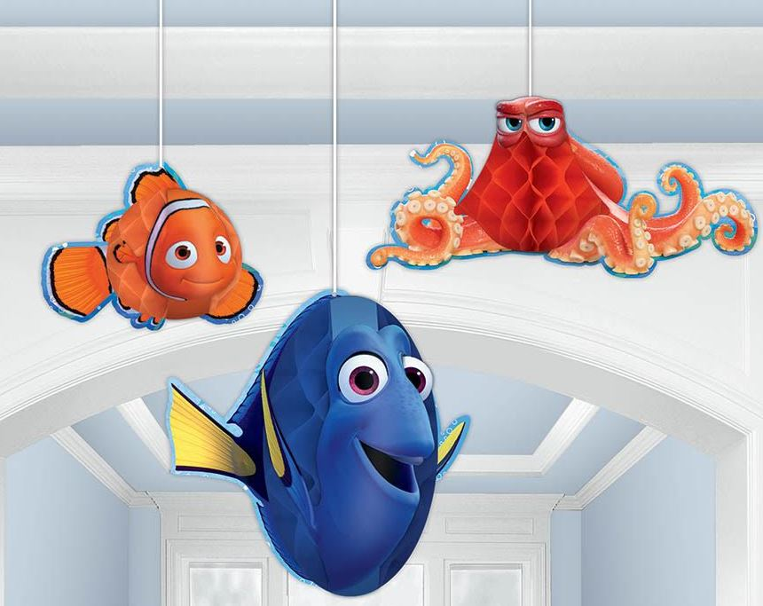 Finding Dory Honeycomb Hanging Decorations 1 x 20cm , 1 x 19cm & 1 x 12cm - Pack of 3