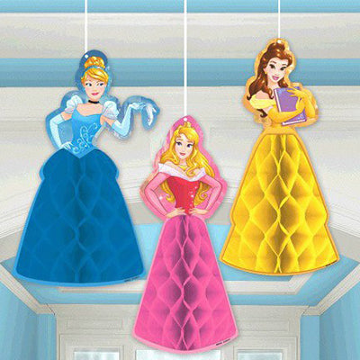 Princess Dream Big Honeycomb Hanging Decorations 1 x 28cm & 2 x 27cm (Supplied Flat with double sided Tape to Assemble) - Pack of 3