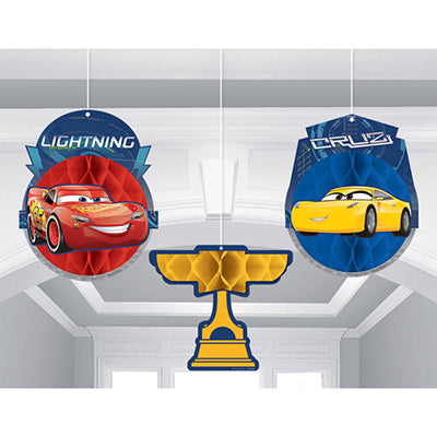 Cars 3 Honeycomb Hanging Decorations 19cm  (Supplied Flat with double sided Tape to Assemble) - Pack of 3