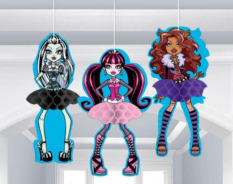 Monster High Honeycomb Hanging Decorations 30cm High - Pack of 3