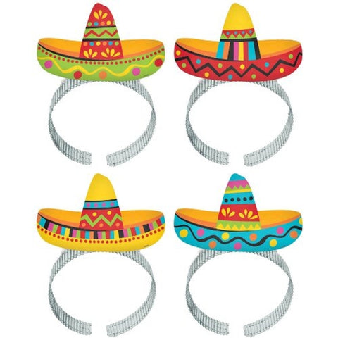 Headbands Sombrero Fiesta Cardboard & Aluminium Band - Pack of 8