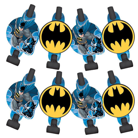 Batman Blowouts with Medallions Assorted Designs - Cardboard - Pack of 8