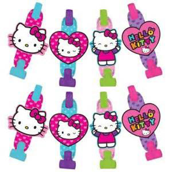 Hello Kitty Rainbow Blowouts with Medallions Assorted Designs Cardboard - Pack of 8