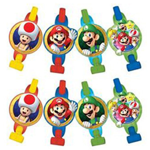 Super Mario Brothers Blowouts with Medallions Assorted Designs - Cardboard - Pack of 8