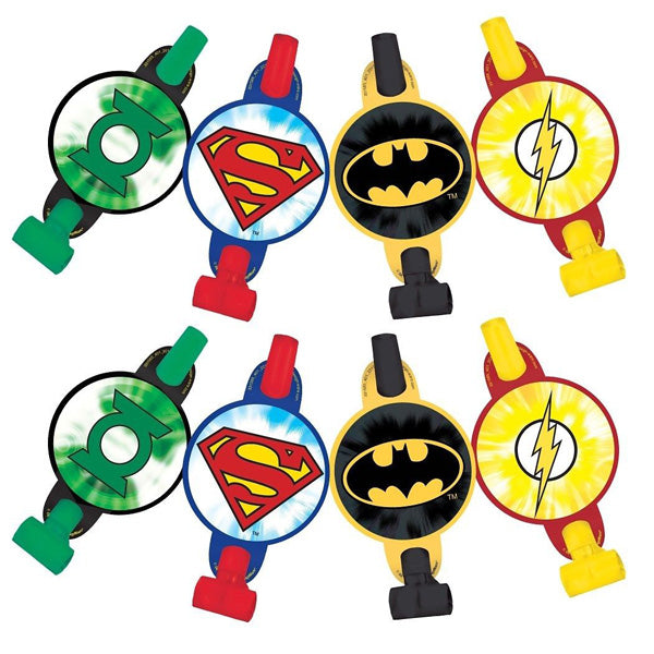 Justice League Blowouts with Medallions Assorted Designs - Cardboard - Pack of 8