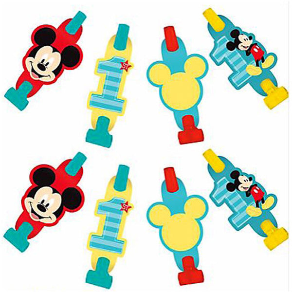 Mickey 1st Birthday Blowouts Fun To Be One with Medallions Cardboard Assorted Designs - Pack of 8