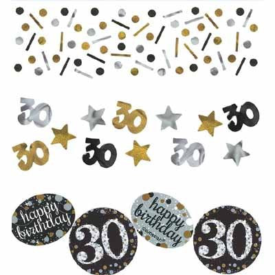 Sparkling Black 40 Happy Birthday Confetti Value Pack Black, Silver & Gold Foil & Cardboard 34g - 34 Grams