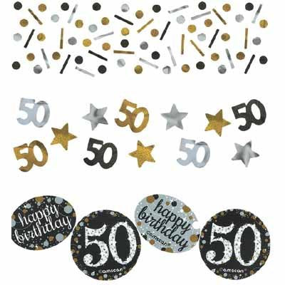Sparkling Black 60 Happy Birthday Confetti Value Pack Black, Silver & Gold Foil & Cardboard 34g - 34 Grams