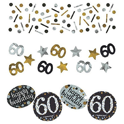 Sparkling Black 50 Happy Birthday Confetti Value Pack Black, Silver & Gold Foil & Cardboard 34g - 34 Grams