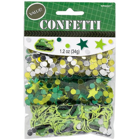 Camouflage Confetti Bulk Value Pack Foil & Cardboard Assorted Shapes 34g - 34 Grams