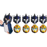 Transformers Masks Cardboard with Elasticated Straps ( 2 Different Designs) - Pack of 8