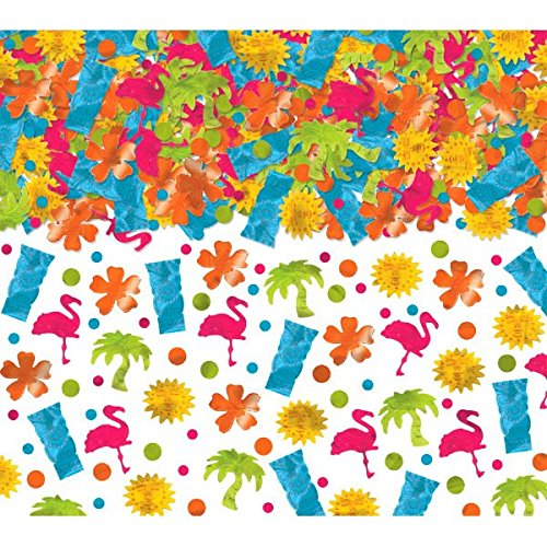 Confetti Tropical Luau Value Pack 70g Tiki, Flamingo, Sun, Flower, Palm Tree & Dots Mix (Choking Hazard, not suitable for children under 3) - 70 Gram