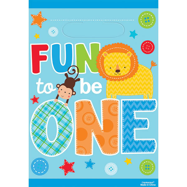 One Wild Boy Loot Bags 1st Birthday 22cm x 16cm Plastic - Pack of 8