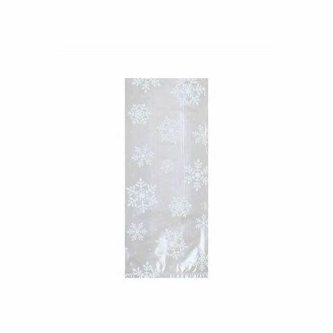 Cello Bags Snowflakes Small White & Clear with Twist Ties 24cm x 10cm - Pack of 20