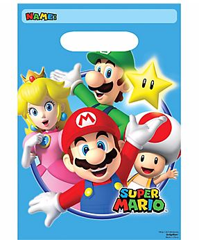 Super Mario Brothers Loot Bags 22cm x 16cm Plastic - Pack of 8