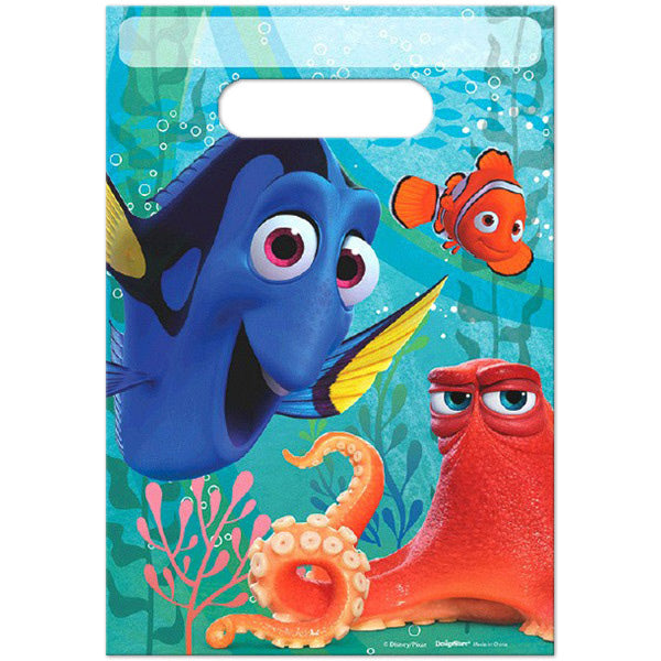 Finding Dory Loot Bags 16cm x 22cm Plastic - Pack of 8