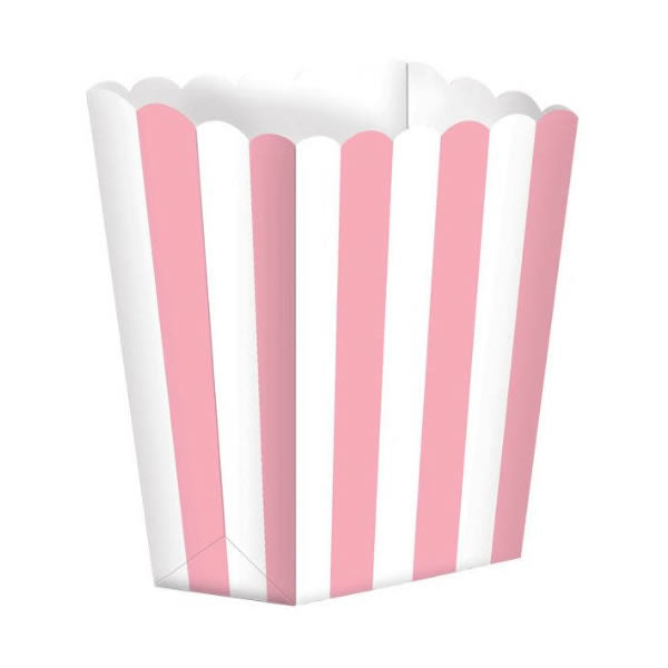 Favor Party  Boxes Pink & White Stripes Cardboard 6cm x 13cm x 4cm - Pack of 5