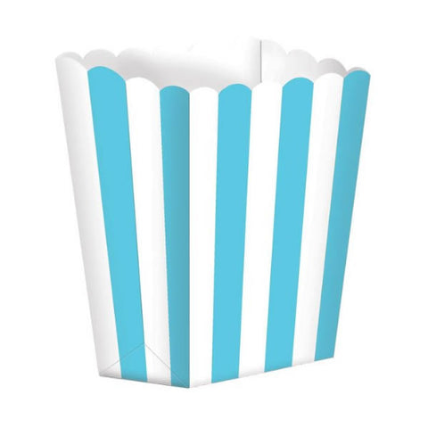 Favor Party  Boxes Robin's Egg Blue  & White Stripes Cardboard 6cm x 13cm x 4cm - Pack of 5