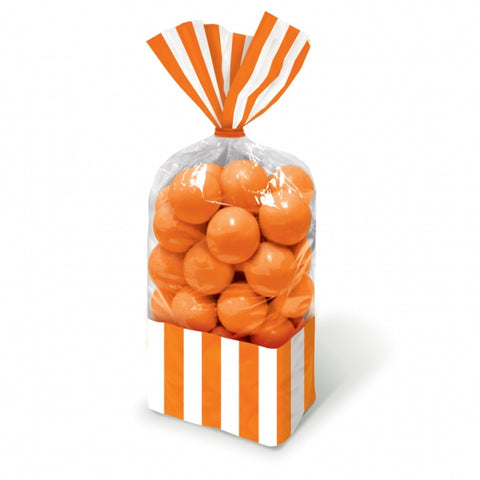 Favor Cello Party Bags Orange Peel & White Stripes 27cm x 8.3cm (with orange twist ties) PROMO DEAL - Pack of 10