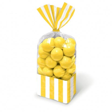 Favor Cello Party Bags Yellow & White Stripes 27cm x 8.3cm (with yellow twist ties) - Pack of 10