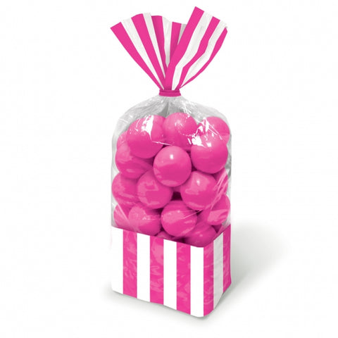 Favor Cello Party Bags Bright Pink & White Stripes 27cm x 8.3cm (with pink twist ties) - Pack of 10
