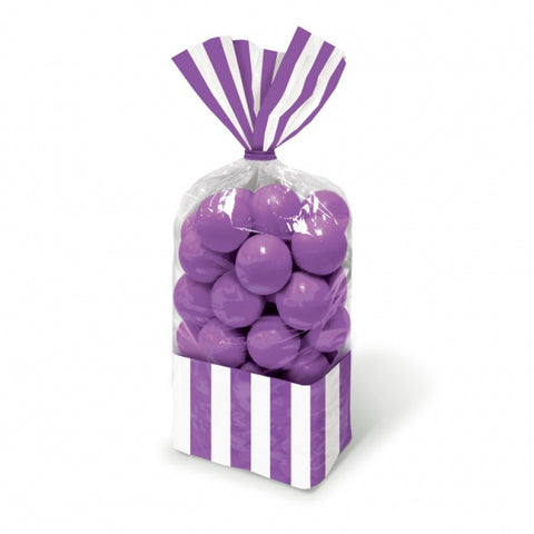 Favor Cello Party Bags Purple & White Stripes 27cm x 8.3cm (with purple twist ties) - Pack of 10