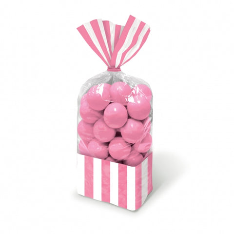 Favor Cello Party Bags Pink & White Stripes 27cm x 8.3cm (with pink twist ties) - Pack of 10