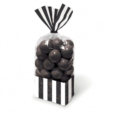 Favor Cello Party Bags Black & White Stripes 27cm x 8.3cm (with black twist ties) - Pack of 10