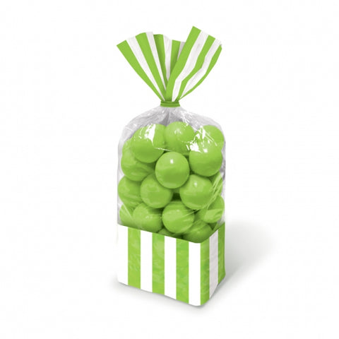 Favor Cello Party Bags Kiwi Green & White Stripes 27cm x 8.3cm (Lime) (with green twist ties) - Pack of 10