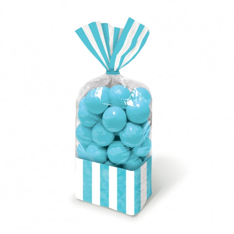 Favor Cello Party Bags Caribbean Blue & White Stripes 27cm x 8.3cm (with blue twist ties) - Pack of 10