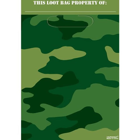 Camouflage Loot Bags Plastic 23cm x 16cm - Pack of 8