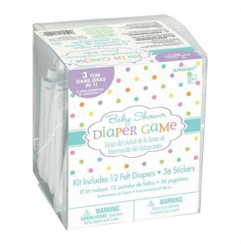 Game Baby Shower Diaper Games Contains 12 x Felt Diapers with Pins & 36 Stickers - Each