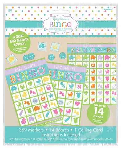 Game Baby Shower Bingo Value Pack For up to 14 Players - 1 x Caller Card, 14 x Playing Cards & 369 Markers - Each