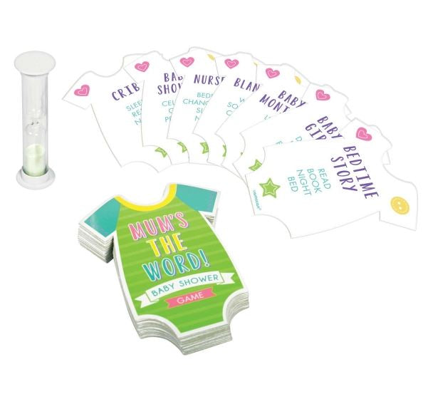 Game Baby Shower Mum's the Word 60 x Game Cards, 1 x Score Pad & 1 x Egg Timer. Describe the top word on the card without using the 4 descriptors on the card - Each