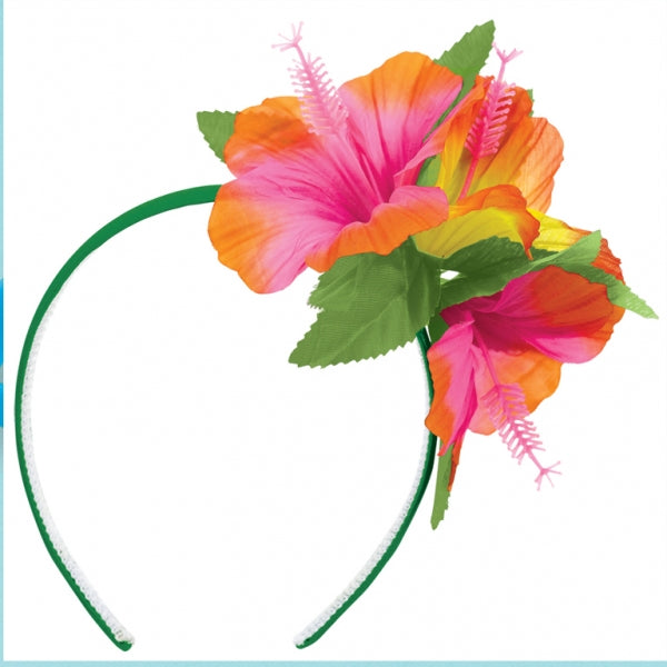 Headband Luau Hibiscus Flowers (Fabric Covered Headband) One Size Fits All - Each