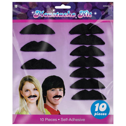 Disco Fever Moustaches Black Felt Self Adhesive  7.5cm - Pack of 10