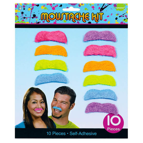 Totally 80's Moustache Kit, Neon Colours. - Pack of 10