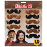 Bandana & Blue Jeans Moustaches, Brown & Black. - Pack of 10