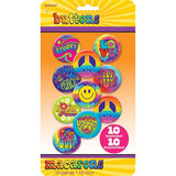 Groovy 60's Buttons / Badges Assorted Designs (4.5cm Diameter) - Pack of 10
